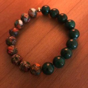 Jewelry - Impression Jasper & Green Jade 10 mm Bead Bracelet